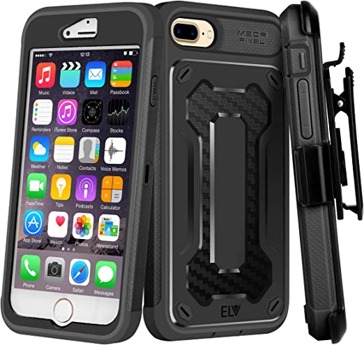 Amazon Com E Lv Holster Case For Iphone 8 Plus Iphone 7 Plus Case Holster Belt Clip Kickstand Rugged Armor Holster Full Body Protective Case Cover For Apple Iphone 7 Plus Iphone 8 Plus Black Black