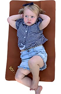 Infant and Toddler Multipurpose Portable Waterproof Diaper Pad Compact for Travel Honey Gold + Ivory, 14 x 22 Deluxe Diaper Changer SONDER Double Sided Vegan Leather Changing Mat