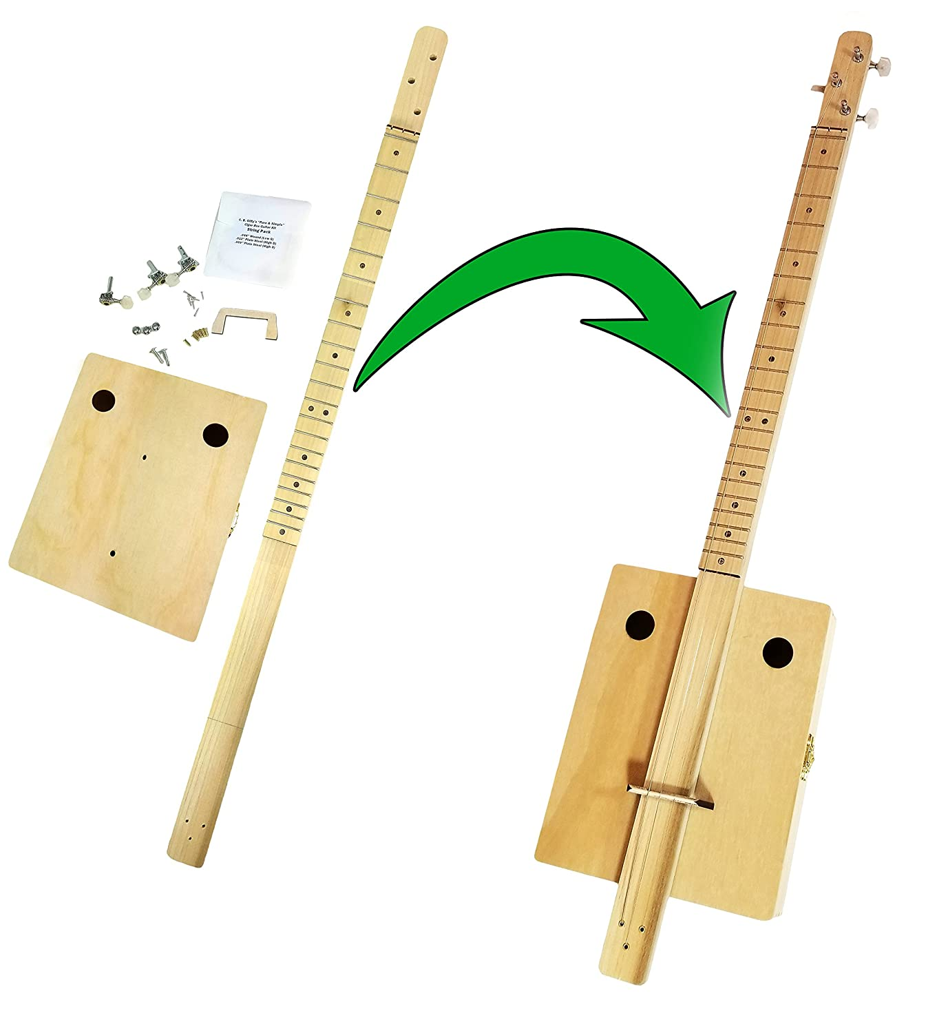 Fretted'Pure & Simple' 3-string Cigar Box Guitar Kit - the Easiest CBG Kit to Build, Bar None! C. B. Gitty Crafter Supply 36-013-01