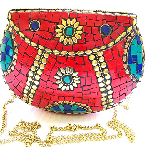 c6addd9382d4d Image Unavailable. Image not available for. Color: Handcrafted💕 UNIQUE Red  Stones Mosaic Bag Golden Antique Brass Metal Evening Clutch Purse ...