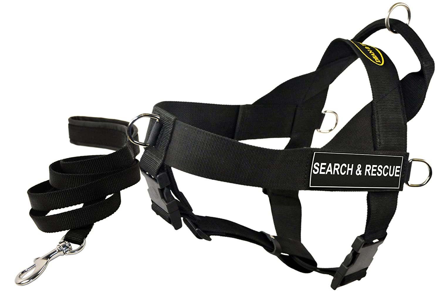 Dean and Tyler Bundle One DT Universal Harness, Search and Rescue, Small (24, 27) + One Padded Puppy Leash, 6-Feet Stainless Steel Snap, Black