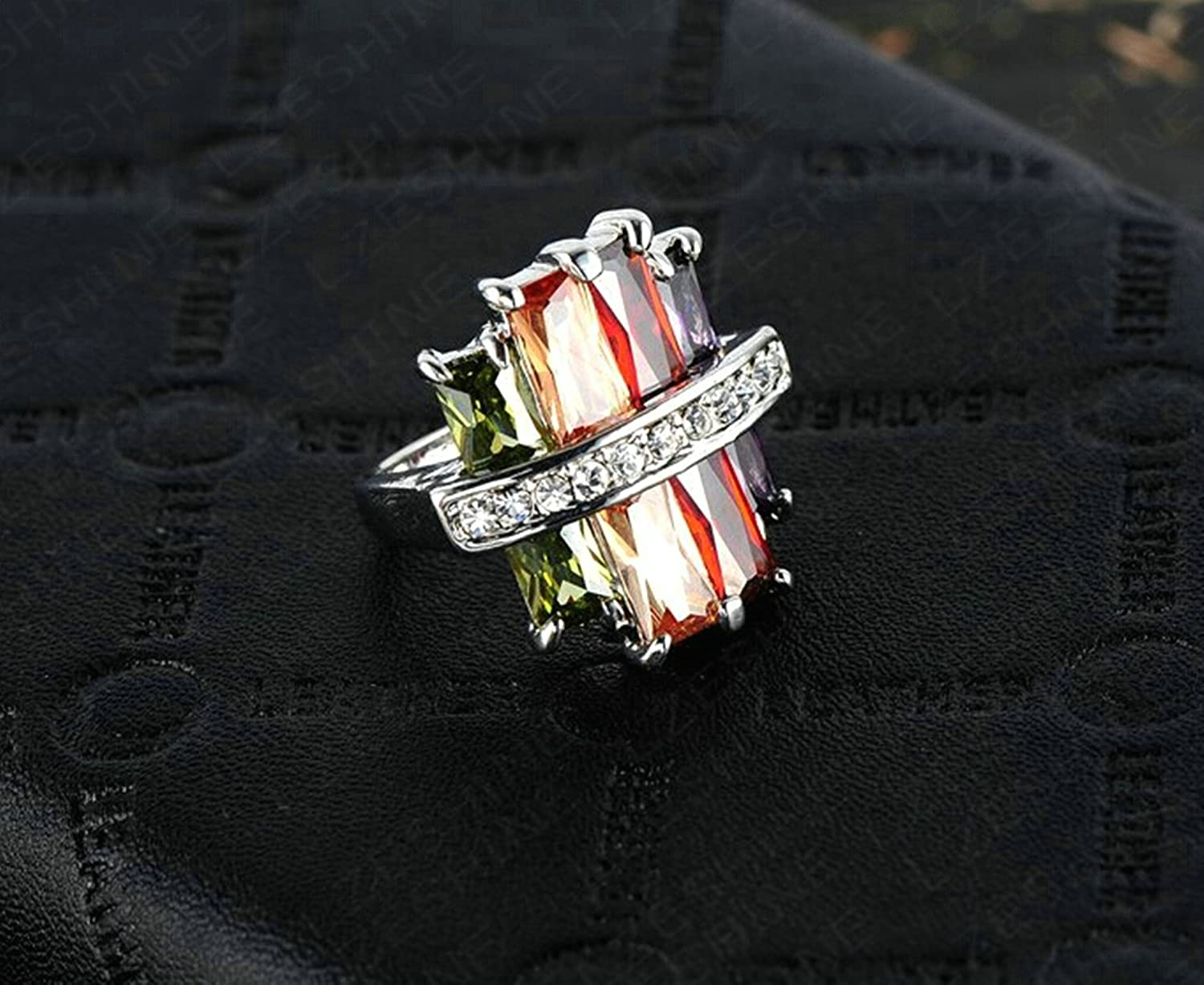 Gnzoe Silver Plated Women Wedding Bands Silver US Size 8
