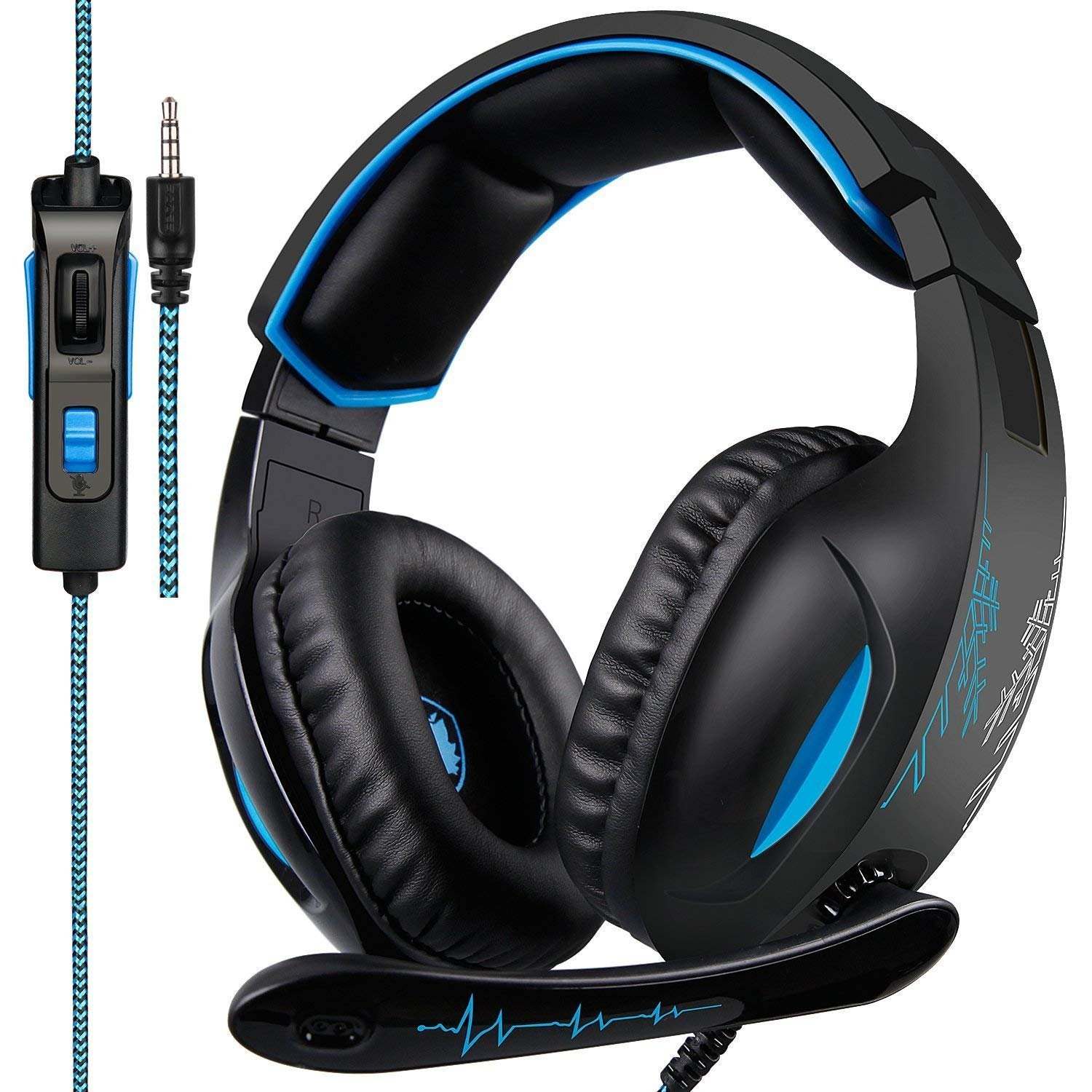 Gaming Headset for PS4, Xbox One,PC, Controller, Over Ear Bass Surround Headphones with Noise Cancelling Mic, Soft Memory Earmuffs for PlayStation 4 Computer Mac Laptop Nintendo Switch Games