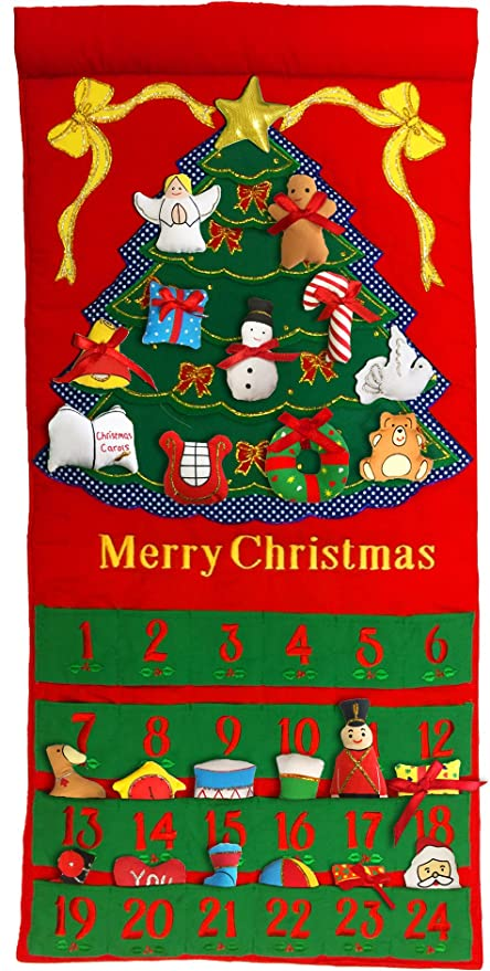 Christmas Countdown Calendar.Pockets Of Learning Merry Christmas Tree Advent Calendar Holiday Decor Seasonal Fabric Wall Hanging Cloth Countdown