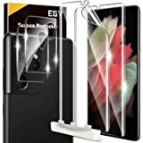 [2+2 Pack] EGV Compatible for Samsung Galaxy S21 Ultra 5G 6.8-inch, Flexible TPU Screen Protector and Glass Camera Lens Prote