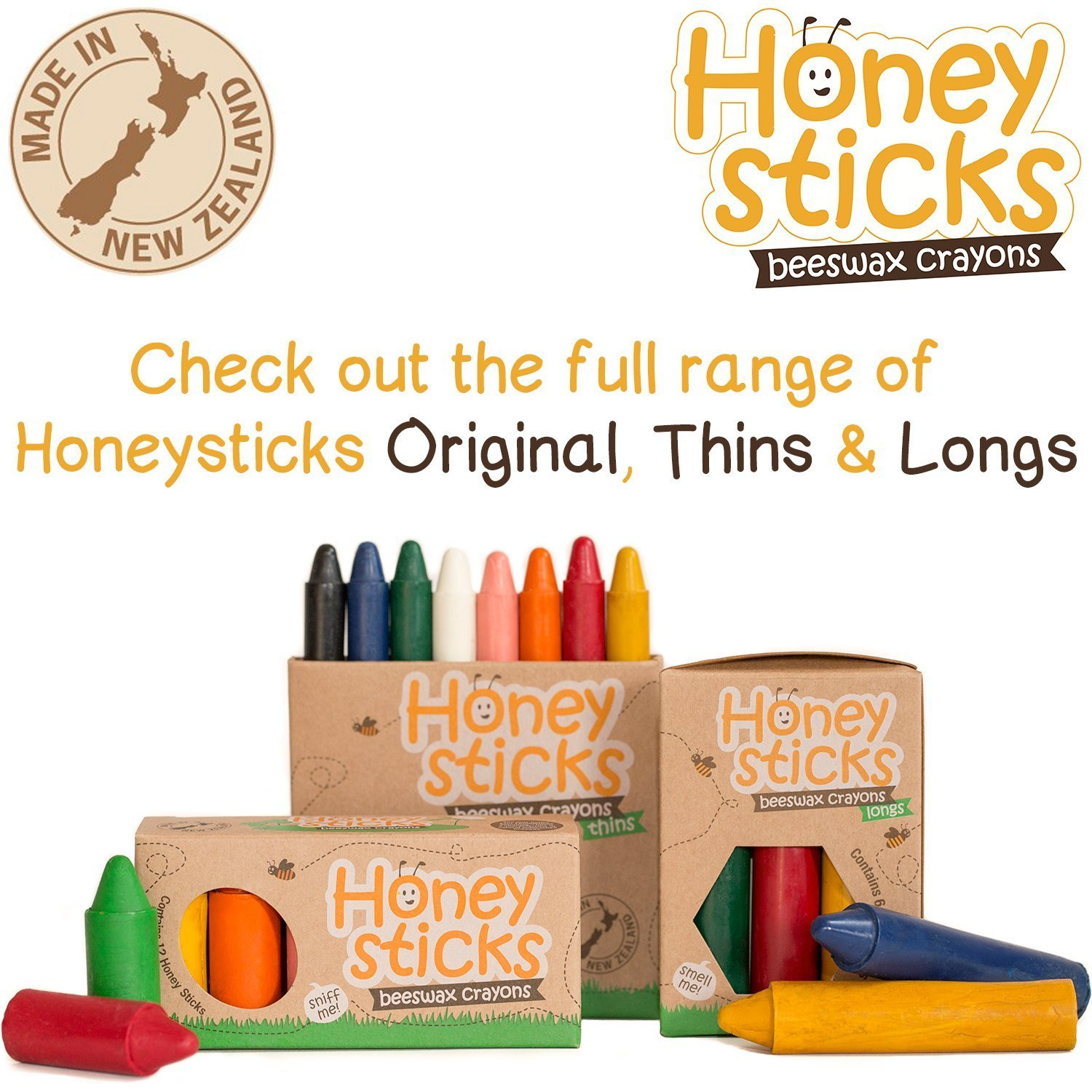 Honeysticks 100% Pure Beeswax Crayons Natural, Safe for Toddlers, Kids and Children, Handmade in New Zealand, for 1 Year Plus (12 Pack) by Honeysticks (Image #6)