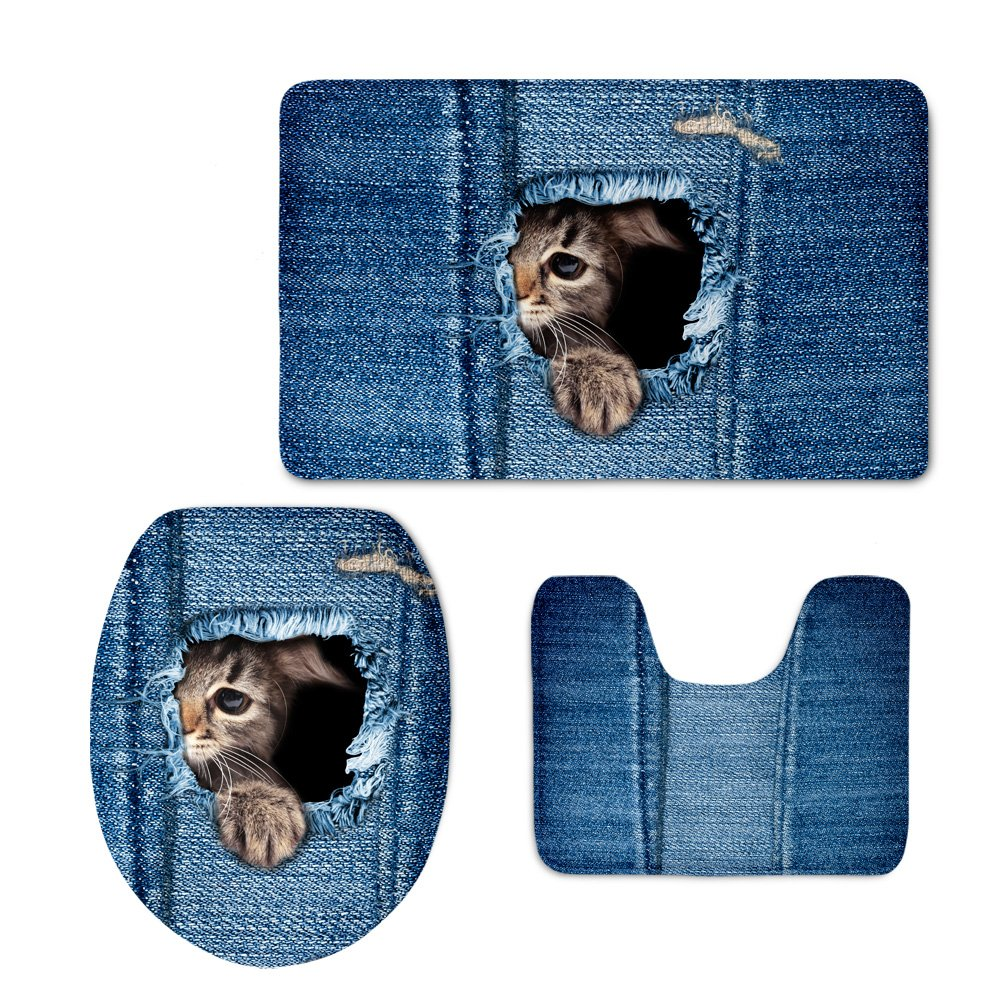 Coloranimal Blue Denim Print Bath Rugs Set Cute Animal Cat Pattern Large Contour Mat with Toilet Lid Cover
