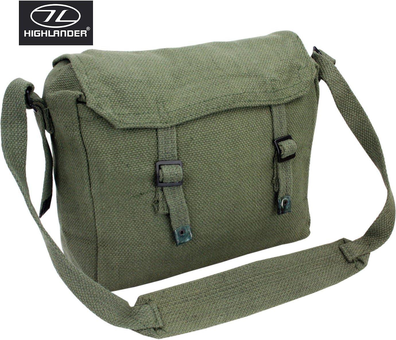 Bolso bandolera de estilo militar para viajes o el d/ía a d/ía Highlander suministro original del ej/ército de lona color verde