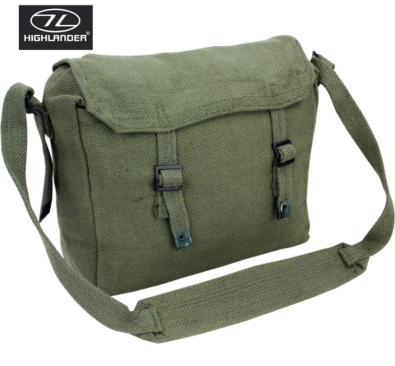 361fbe1ea5 Highlander Army Travel Shoulder Military Combat Day Bag Messenger Satchel  Canvas Surplus Haversack Green  Amazon.co.uk  Sports   Outdoors