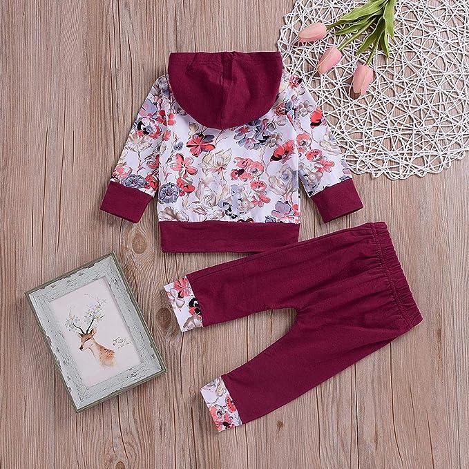 Ropa Bebe otoño Invierno 2018, ❤ Amlaiworld Recién Nacido bebé niño niña Floral Tops Sudadera con Capucha Pantalones Trajes 2pcs Conjunto de Ropa: ...