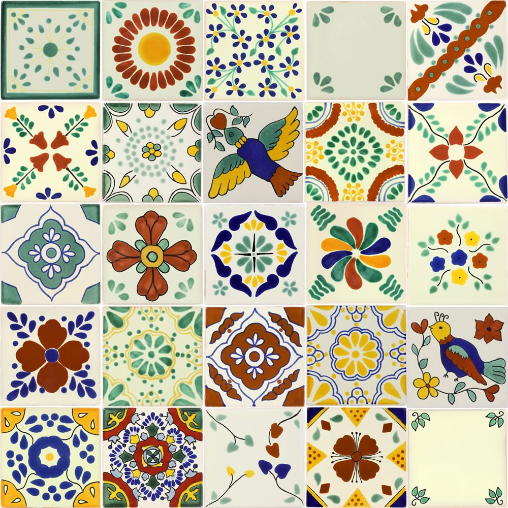 Tierra y Fuego Tile SET - Twenty-Five (25) 4¼ x 4¼ In. Ceramic Mexican Tiles - Talavera