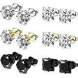 BESTEEL 6Pairs Stainless Steel Earrings Stud Set for Men Women Cartilage Earrings Cristals, 4-8MM