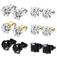 BESTEEL 6Pairs Stainless Steel Earrings Stud Set for Men Women Cartilage Earrings Cristals, 4-8MM