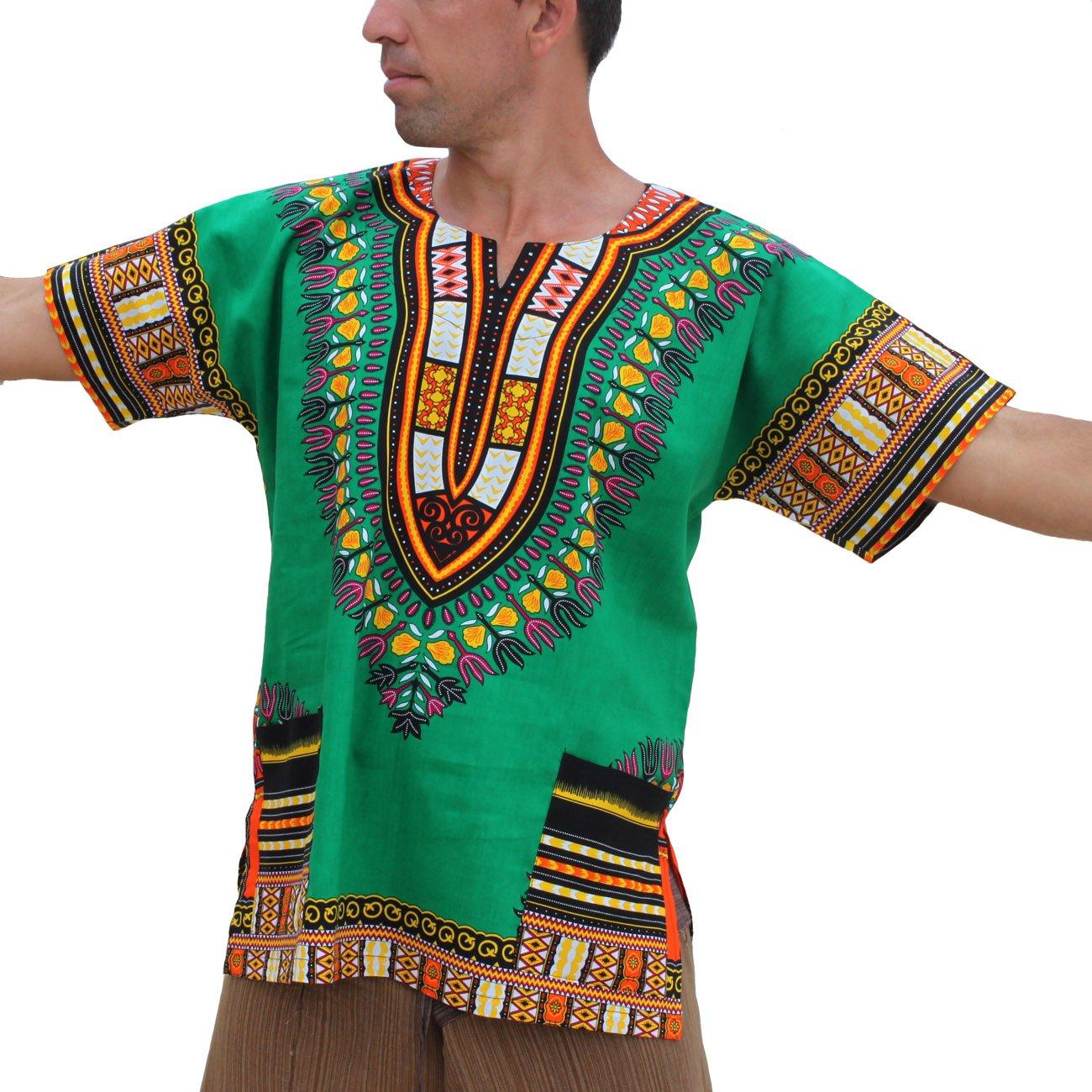 RaanPahMuang Unisex Bright Coloured African Dashiki Cotton Plus Shirt, XXX-Large, Green Mexico by Raan Pah Muang (Image #1)