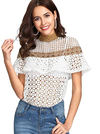 Floerns Women s Summer Lace Hollow Out Ruffle Short Sleeve Blouse Tops  White XS 166e9aff8