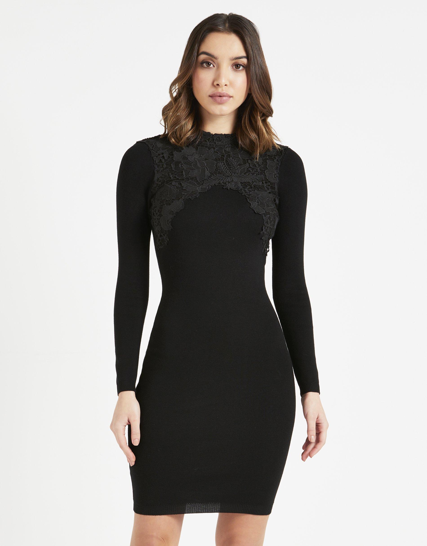LIPSY Womens Lace Appliquà Dress Black US 10 (UK 14) by LIPSY (Image #3)
