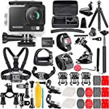 Neewer G2 4K WiFi Sports Action Camera with Touch Screen Ultra HD Waterproof DV Camcorder 12MP 4K/30FPS EIS 170 Degree Wide Angle WiFi Sports Cam with Remote/Battery and 50-in-1 Accessories Kit