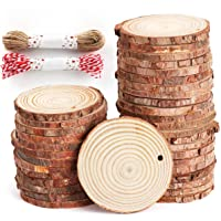 50 Pcs Natural Wood Slices Unfinished Predrilled Log Discs Wooden Circles with Natural Jute Twine Decorations Ornaments