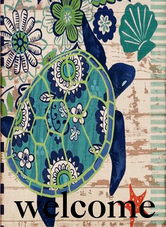 Dyrenson Home Decorative Welcome Quote Outdoor Turtle Beach Garden Flag Double Sided, Tropical Ocean House Yard Flag, Rustic Coastal Garden Yard Nautical Sea Decorations, Seasonal Outdoor Flag 12 x 18