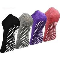 Pilates Ballet Barre Yoga Socks - Elutong 4 Pack Non Skid Slip Sticky Grippers Socks for Women