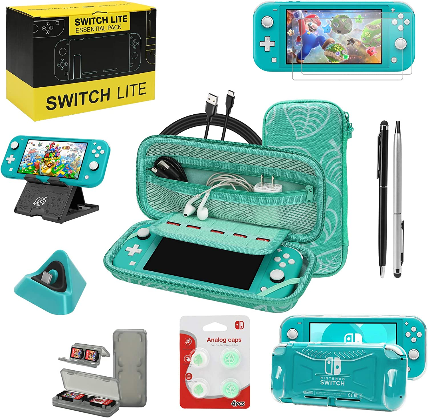 Switch Lite Accessories Bundle, Kit with Carrying Case,TPU Case Cover with Screen Protector,Charging Dock,Playstand, Game Case, USB Cable, Stylus,Thumb Grip Caps for Nintendo Switch Lite (Turquoise)
