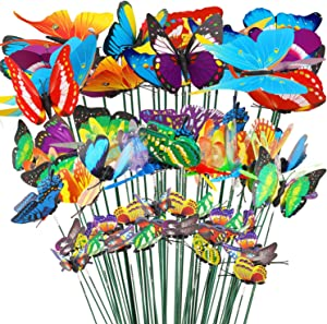 HOWAF 32pcs Garden Stakes Decorations, 24 Garden Butterflies Stakes, 8 Garden Dragonflies Stakes, Colorful Stakes on Sticks for Garden Yard Patio Plant Lawn Party Decorations Ornament 4 7 8.5 10cm
