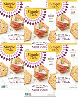 product image for Simple Mills Garlic & Herb Gluten Free Sprouted Seed Crackers with Chia Seeds, Hemp Seeds, Sunflower Seeds, Flax Seeds, and Sunflower Oil, Made with whole foods, 6 Count (Packaging May Vary)