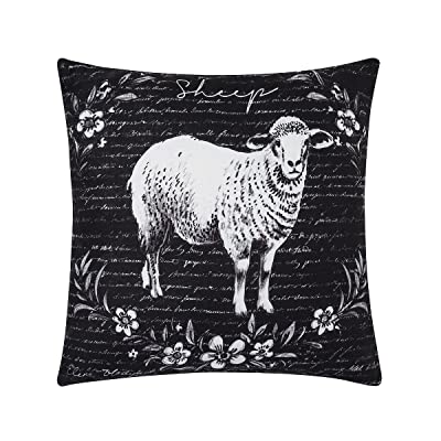 C&F Home Rustic Farm Sheep Premium Indoor/Outdoor Decorative Accent Throw Pillow 18 x 18 Black Sheep: Home & Kitchen