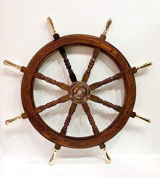 NAUTICAL MARITIME WOODEN SHIP STEERING WHEEL PIRATE DECOR WOOD BRASS WALL DECOR