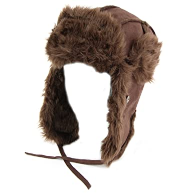 39c157cb417 Hawkins suede effect trapper hat with thick faux fur trim and lining -  Brown 58