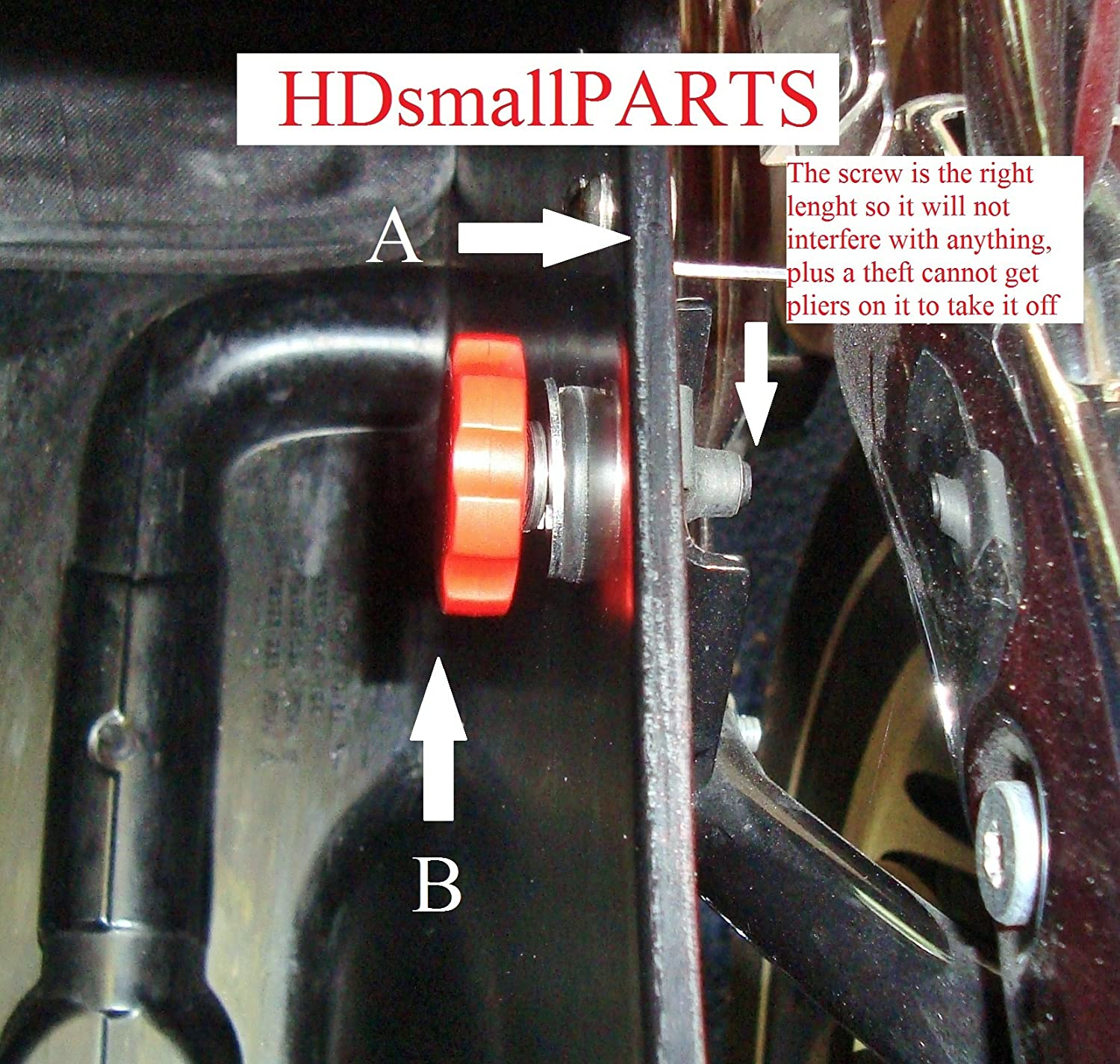 HDsmallPARTS//LocEzy Red 1996-2013 Saddlebag Mounting Hardware//Knobs are replacement//compatible for Saddlebag Quick Release Pins on Harley-Davidson Touring Motorcycles