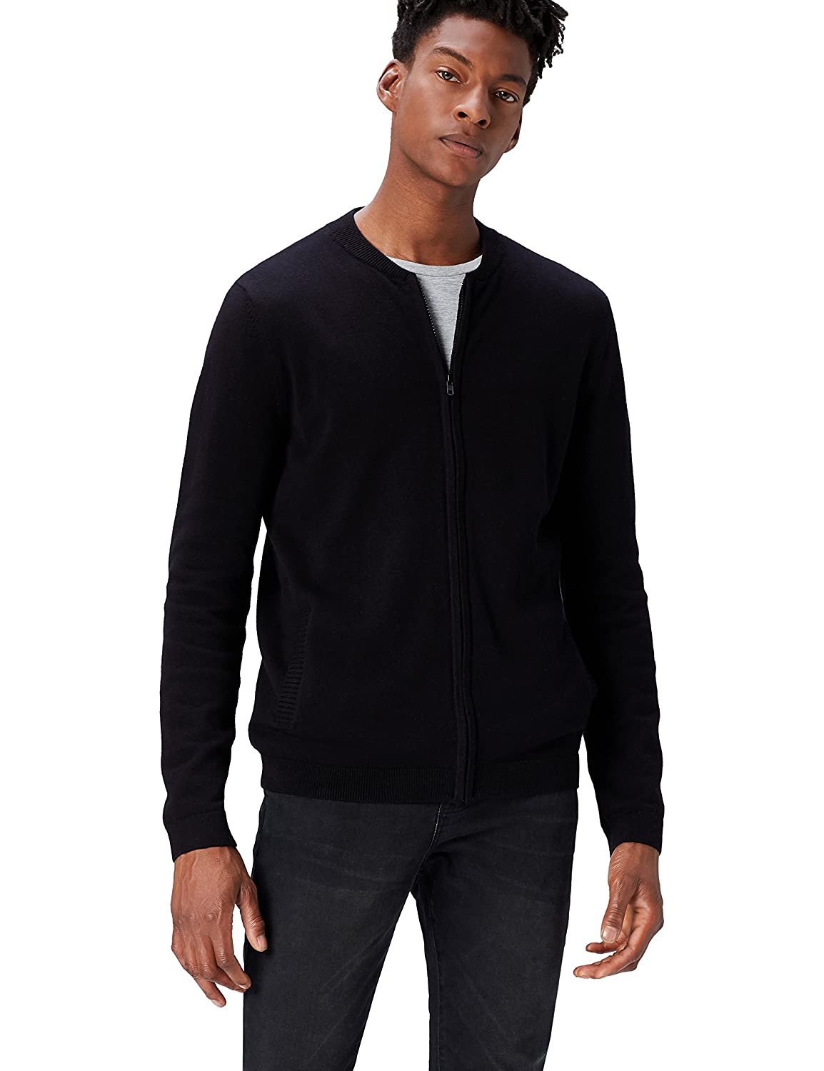 find Brand Mens Cotton Cardigan Sweater in Bomber Jacket Style