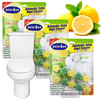 403971bf533 Automatic Toilet Bowl Cleaner Lemon 2 pcs with Stronger Long-Lasting Lemon  Scent at Full 5%. Foaming 5-in-1 Cleaner deep Cleans with Every Flush (3):  ...
