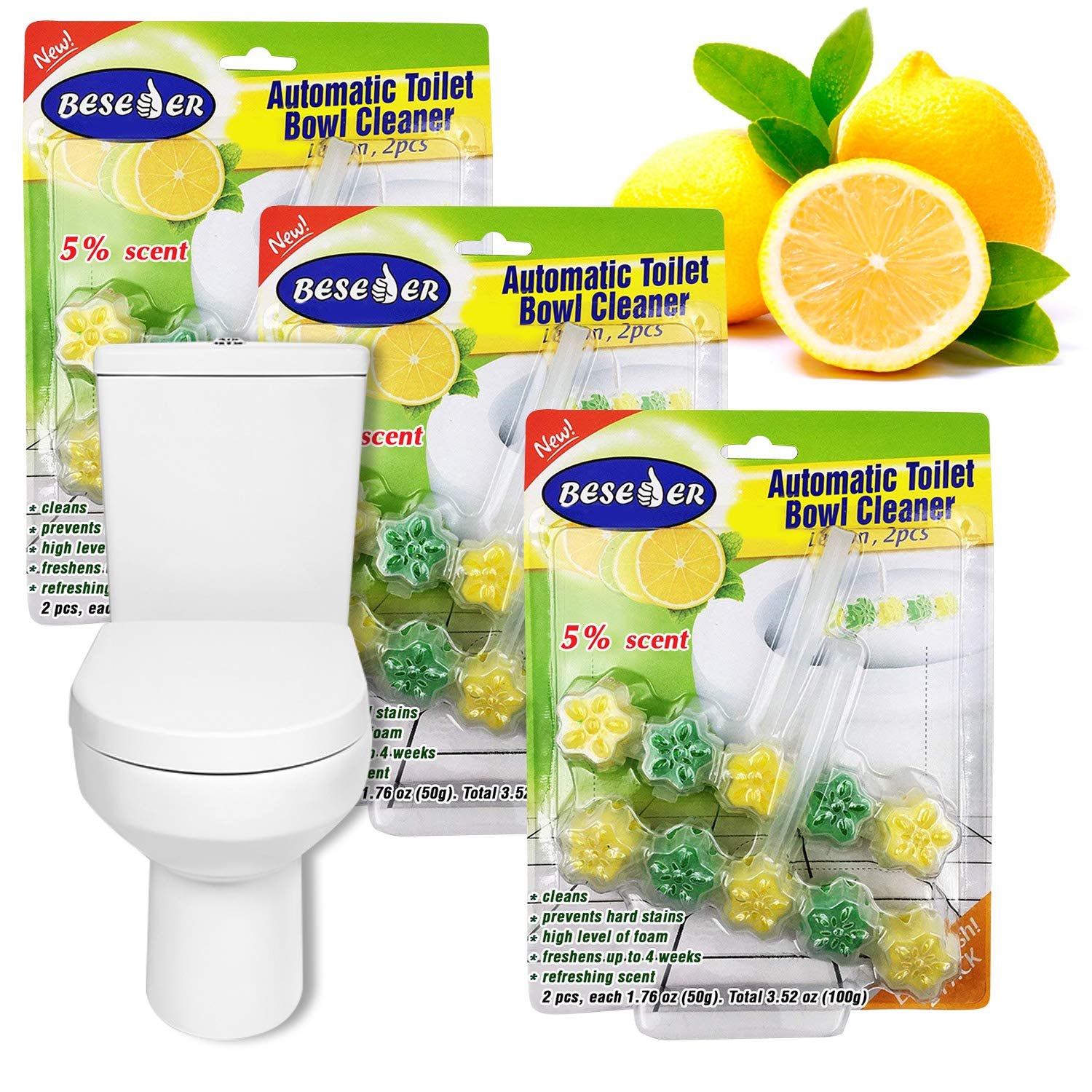 Automatic Toilet Bowl Cleaner Lemon 2 pcs with Stronger Long-Lasting Lemon Scent at Full 5%. Foaming 5-in-1 Cleaner deep Cleans with Every Flush … (3)