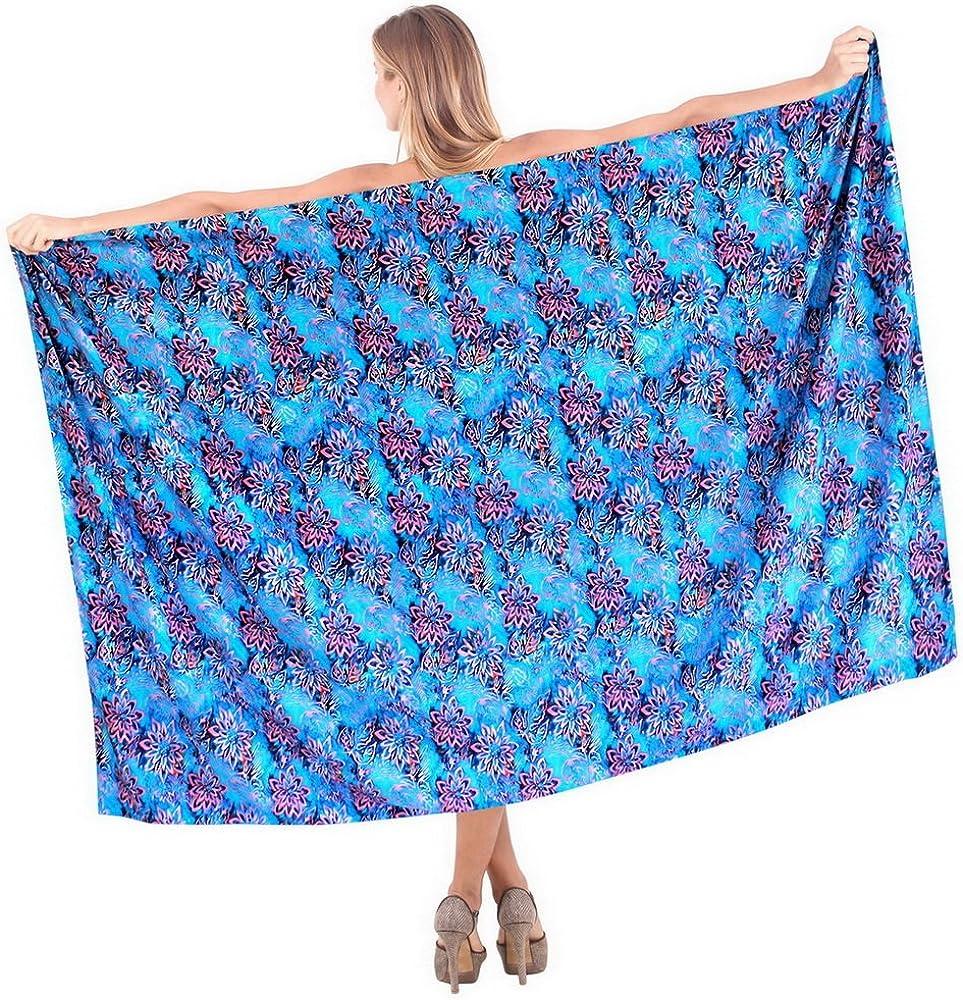 LA LEELA Soft Light Swim Dress Beach Girl Sarong Printed