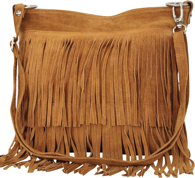 AMBRA Moda Damen Handtasche Ledertasche Umh/ängetasche Fransentasche Schultertasche Damentasche Wildleder 32 cm x 29 cm x 2 cm WL809