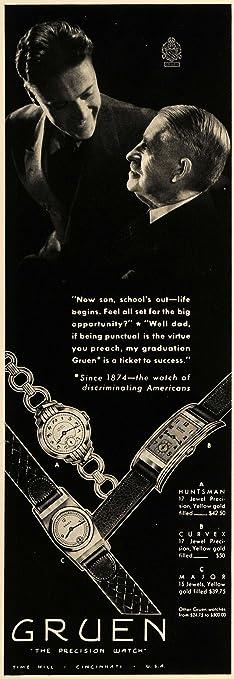 1936 Ad Gruen Wristwatches Huntsman Curvex Major Watch