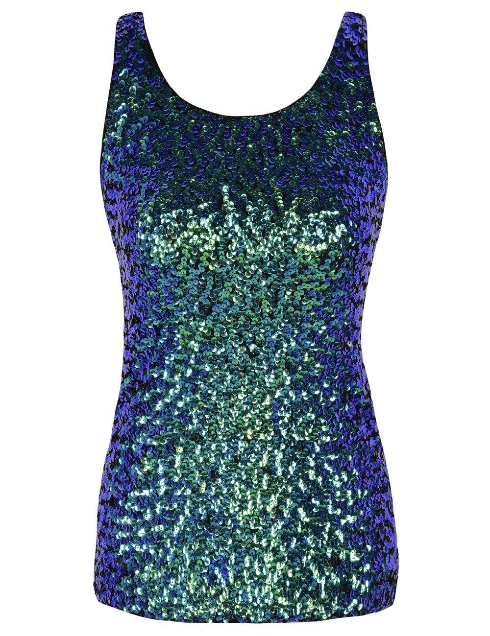 kayamiya Women's 1920S Style Glitter Sequined Vest Tank Tops XL Symphony Green