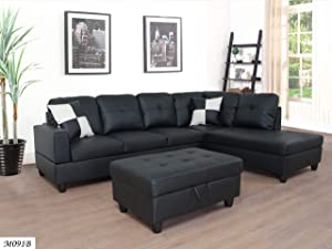 Furniture of Home 3 Piece Sectional Sofa with Right Chaise Lounge Chair/Ottoman with Hidden Storage