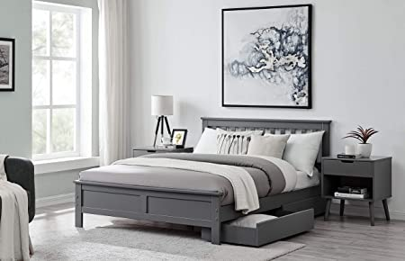 Furniturebox Uk Azure Grey White Wooden Solid Pine Quality Single Double King Bed Frame Grey Double Bed Frame Amazon Co Uk Kitchen Home
