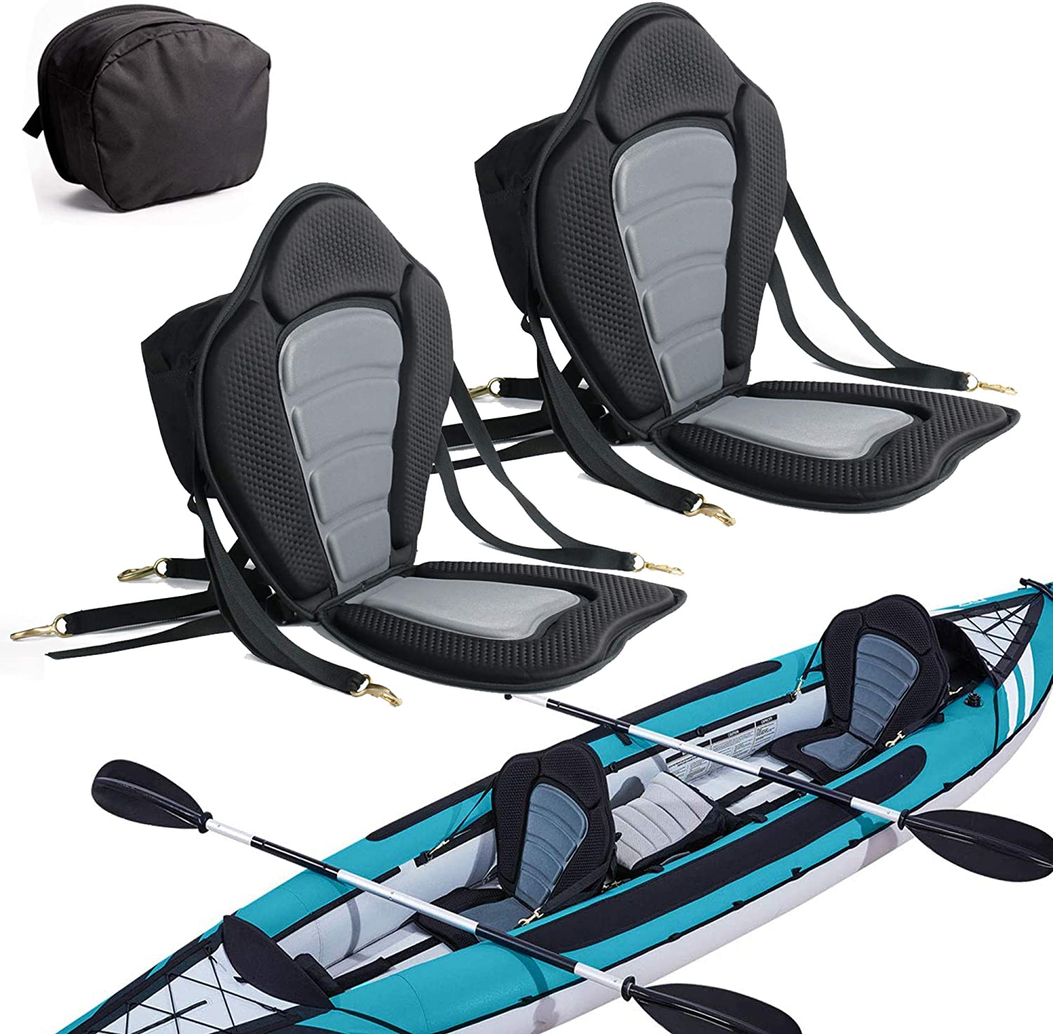 Details about  /Comfy Kayak Seat Adjustable Boat Backrest Seats Pad Cushion Accessories