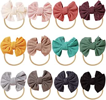 inSowni 12 Pack Soft Stretchy Nylon Bow Headbands Hairbands Hair Ties Elastics Accessories for Baby Girls Toddlers Newborns Infants Kids