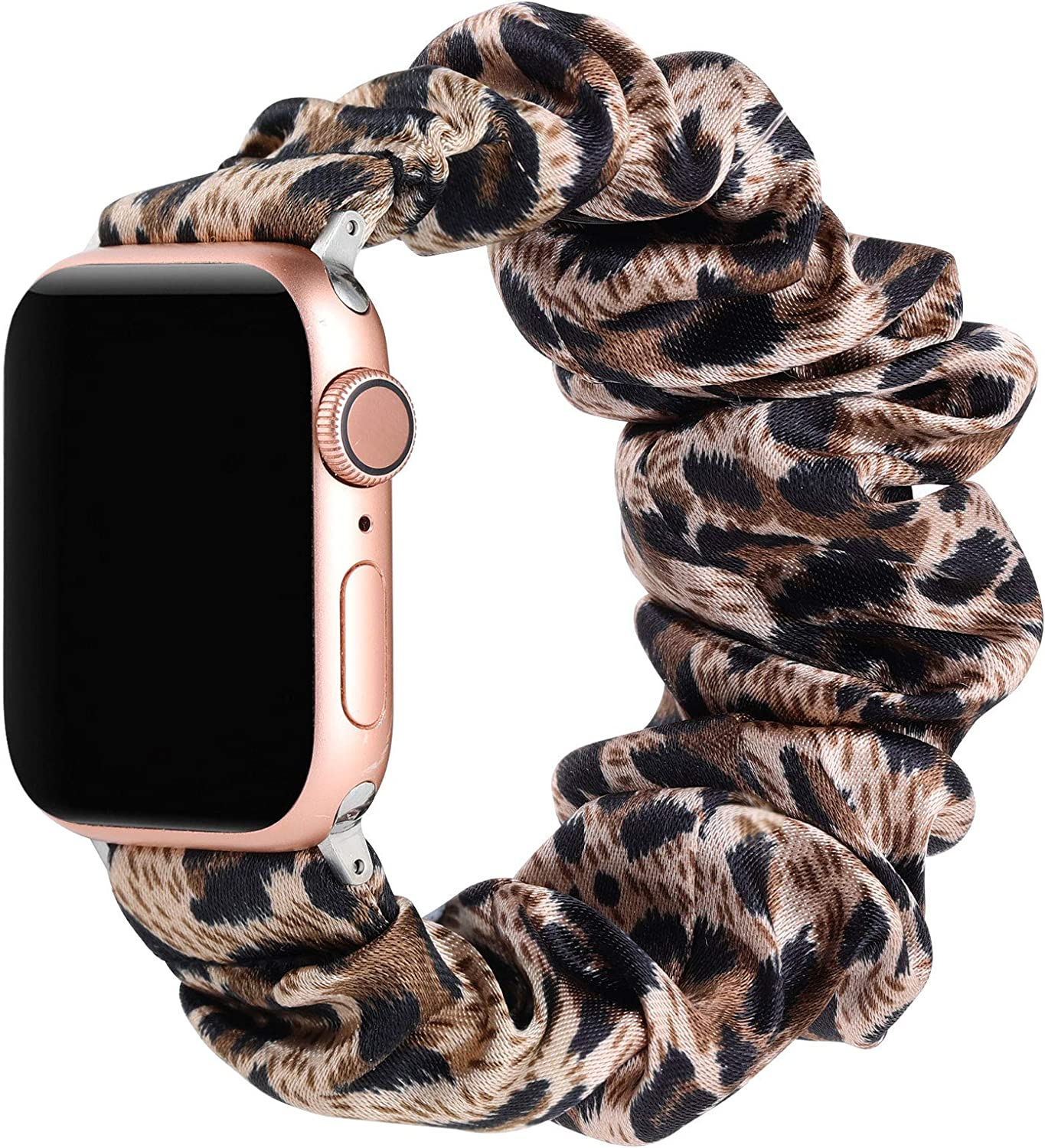 Suppeak Scrunchie Band Compatible with Apple Watch Series 5 4 3 2 1 38mm 40mm, Soft Pattern Printed Women Bracelet Strap, Fit for 5.5-6.7'' Wrist, Brown Leopard, 38mm/40mm, Small Size