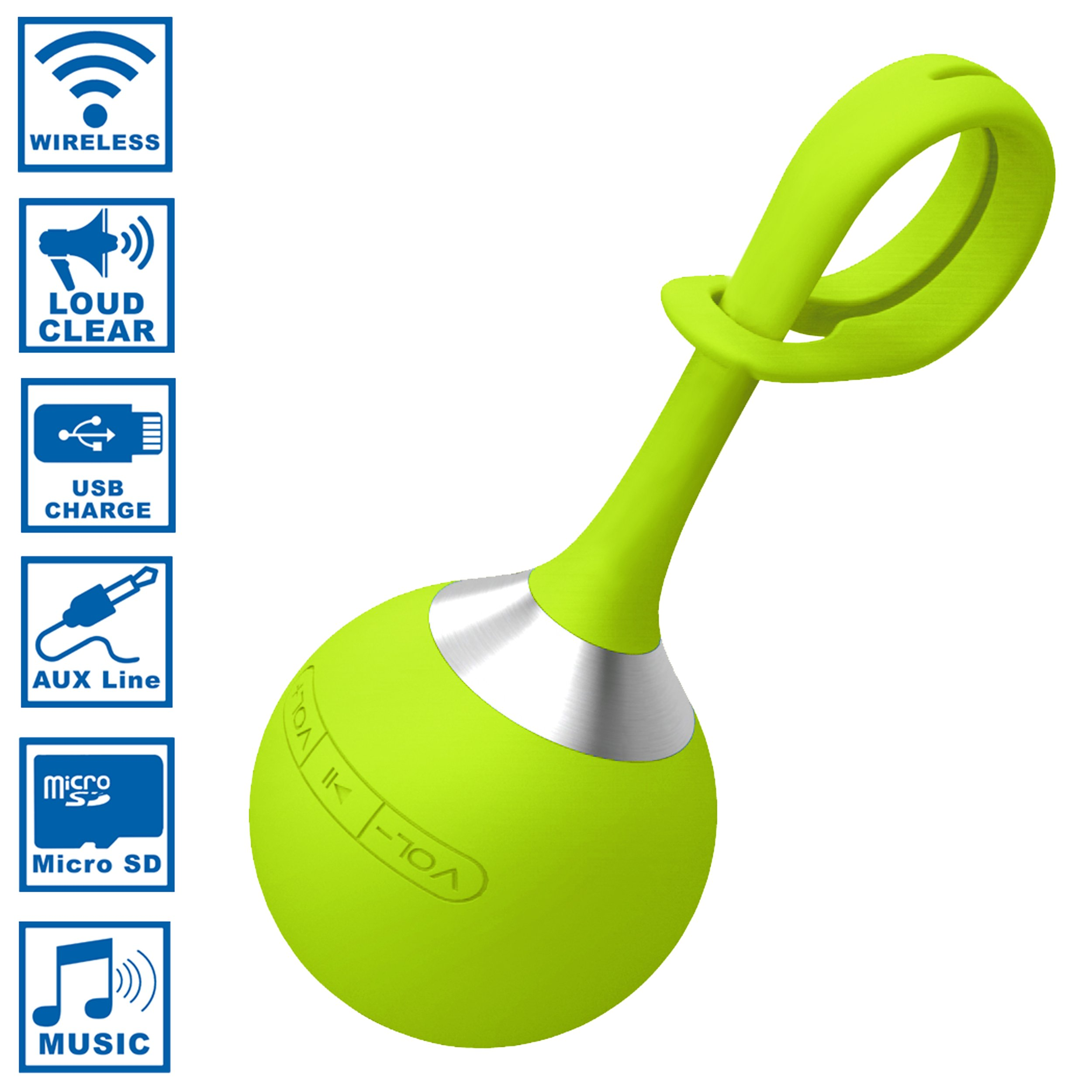 Funsparks EBSP1000-G - 2 In 1 Wireless Bluetooth Speaker Or MP3 Player - Water-Resistant, Portable, Mini (Green)