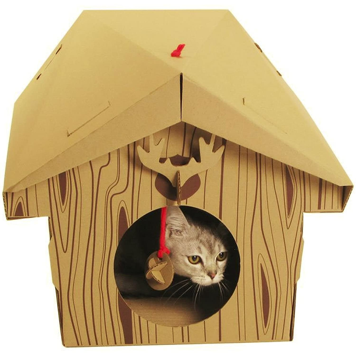 Suck UK Cat Play House Cabin Amazoncouk Pet Supplies - This company makes cardboard tanks houses and planes for cats and theyre perfect