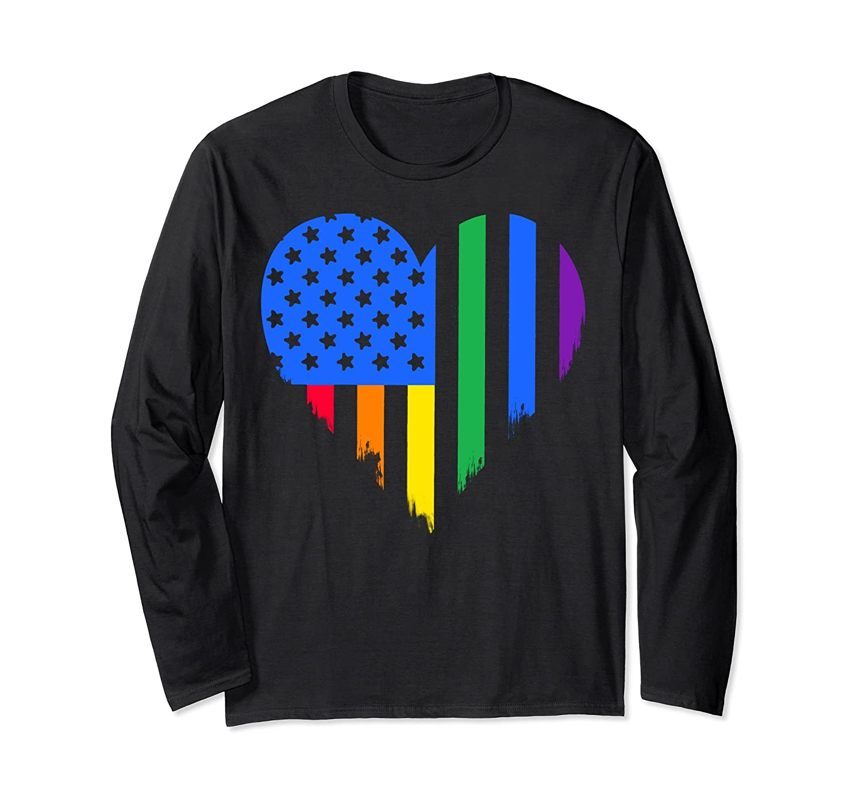 American Heart Rainbow Flag Pride Graphic Long Sleeve Tee-Rose
