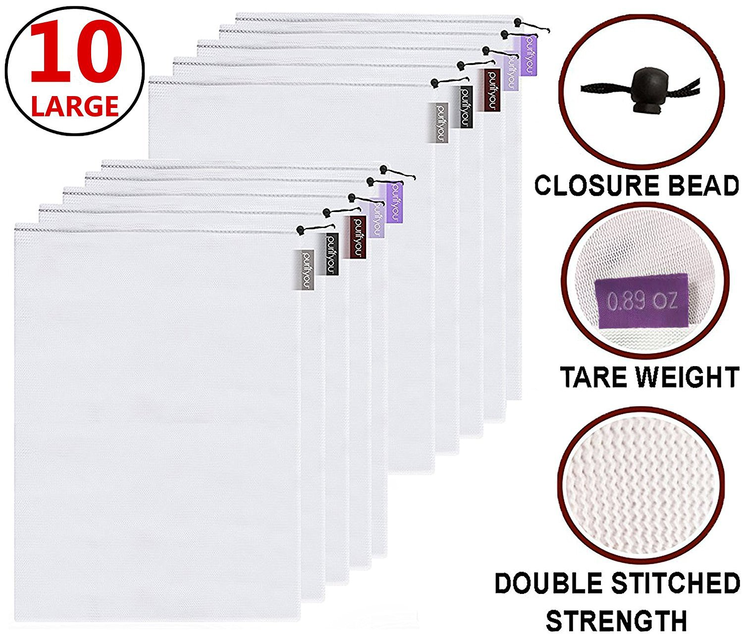 purifyou Premium Reusable Mesh/Produce Bags, Set of 10 Extra Large, Superior Double-Stitched Strength, with Tare Weight on Tags | Lightweight, See-Through by purifyou