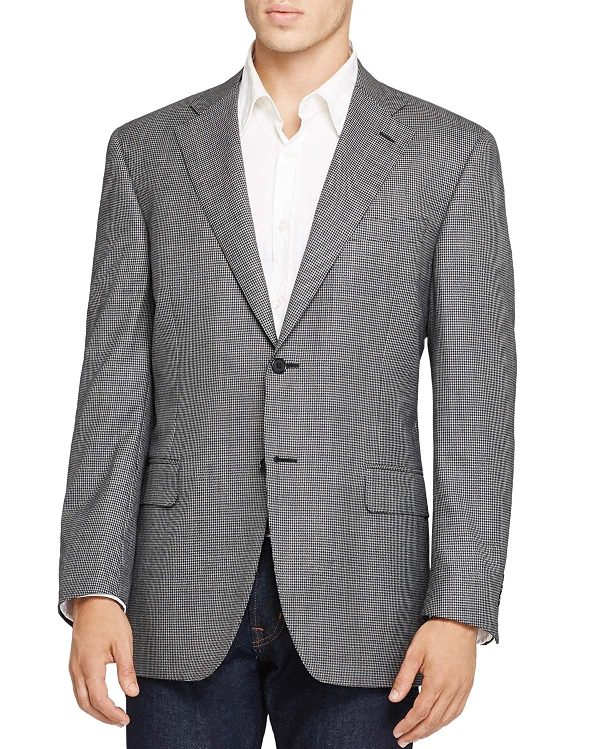 4155f686fda Canali Mens Slim Fit Black   White Houndstooth Sportcoat 40 Long Made in  Italy at Amazon Men s Clothing store
