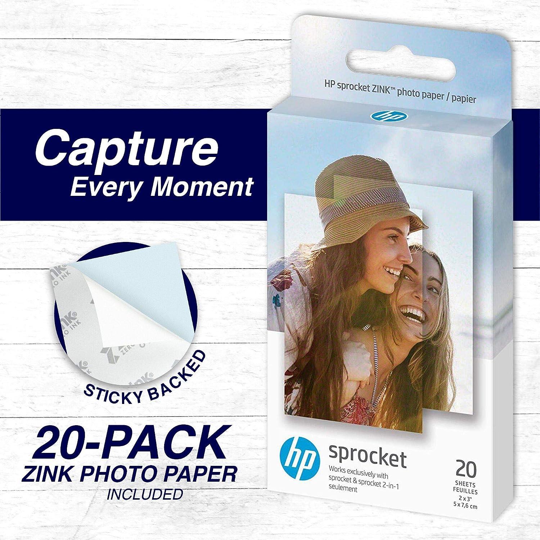 Bundle HP Sprocket 2x3 Premium Zink Sticky Back Photo Paper Hanging Clips Cloth 20 Sheets String and Frames