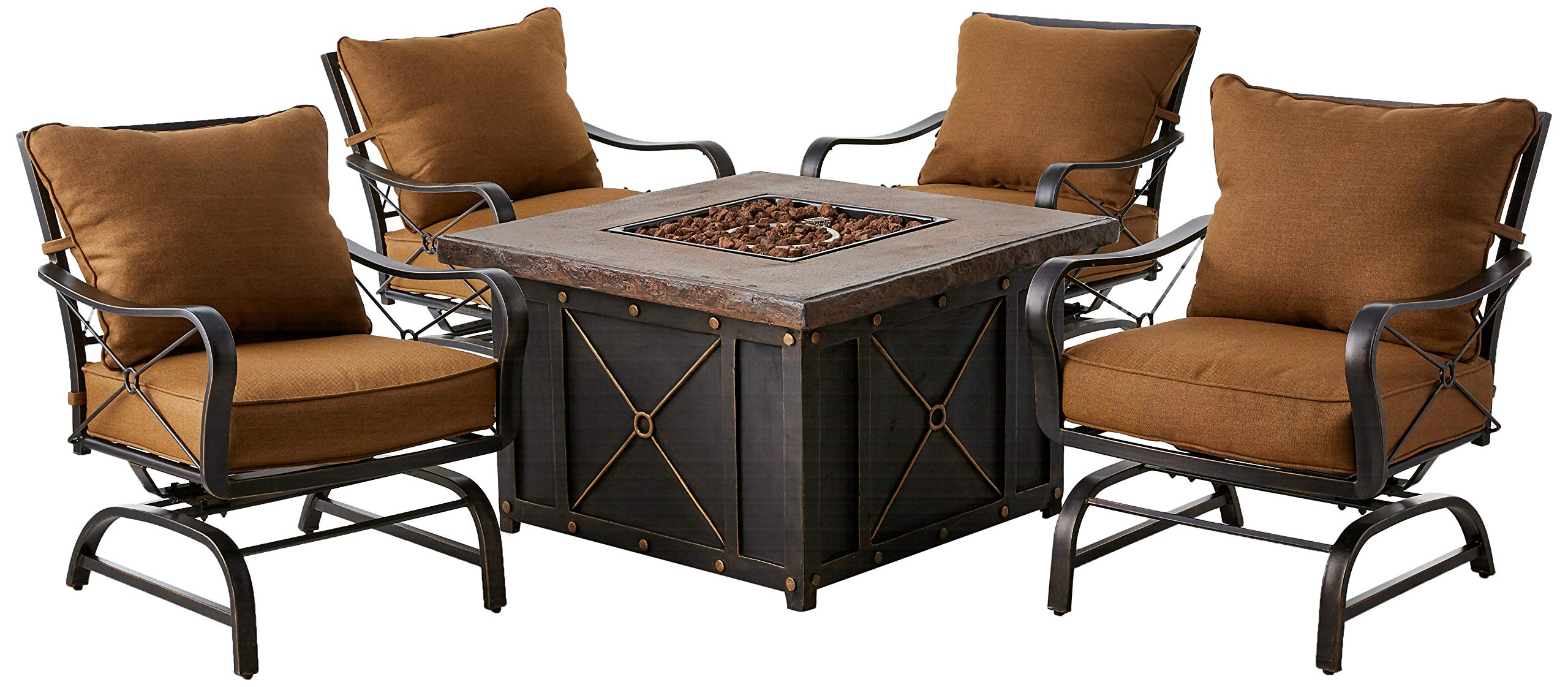 Hanover SUMMRNGHT5PC Summer Nights 5-Piece Patio Fire Pit Set Outdoor Furniture, 40'', Desert Sun by Hanover